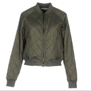 Vince. Army Green Poly Quilted Bomber Jacket